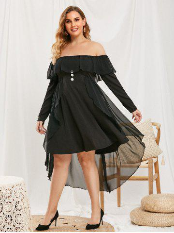 Plus Size Ruffled Mesh Overlay Off Shoulder Dress