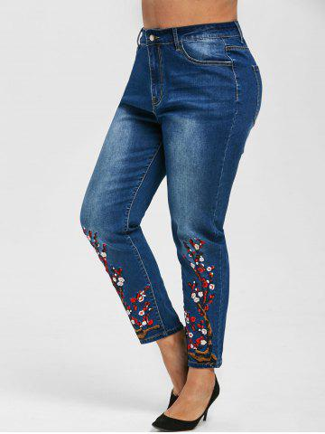 Plus Size Flower Embroidered Skinny Jeans - BLUE - 4X