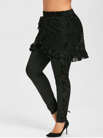 Plus Size High Rise Ruffle Skirted Pants - BLACK - L
