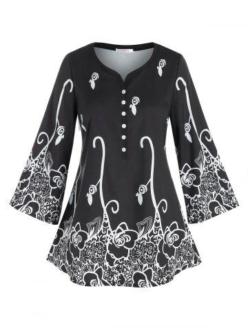 Plus Size Flower Print Placket Wide Sleeve Tunic Tee
