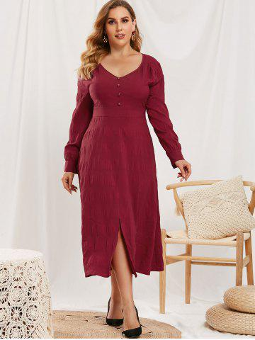Plus Size Mock Button Slit V Neck Dress