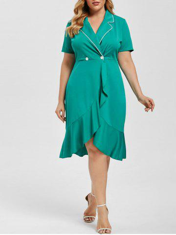 Lapel Double Breasted Flounces Plus Size Dress - GREEN - 3X
