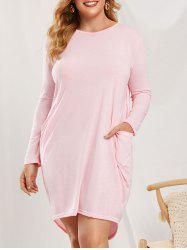 Robe Bouffante Grande Taille avec Poches - Rose clair 4XL