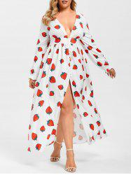 Plus Size Plunge Strawberry Print Maxi Dress -