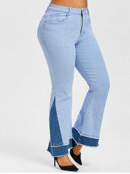 Plus Size Bicolor Frayed Layered Cuff Flared Jeans -