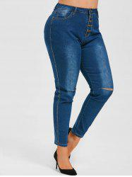 Ripped Button Fly High Waisted Plus Size Skinny Jeans -