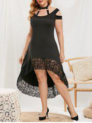 Plus Size Lace Trim Cutout High Low Dress -