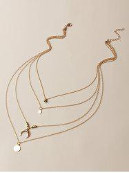 Brief Moon Round Shape Charm Multilayered Necklace -