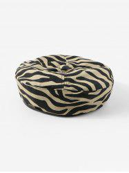 Zebra Printed Cotton Flat Beret Hat -