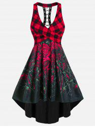Sleeveless Plaid Rose Flower Print Lace-up Crossover High Low Dress -