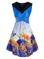 Crossover Butterfly Floral Print Dress -
