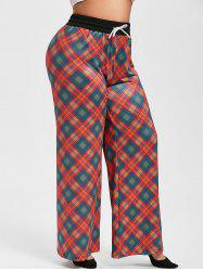 Plus Size Drawstring Plaid Wide Leg Pants -