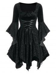 Halloween Skull Lace Insert Lace-up Velvet Handkerchief Dress -