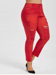 Plus Size Colored Skinny Distressed Jeans -