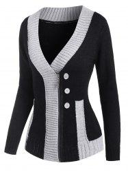 Mock Button Two Tone Zip Up Cardigan -