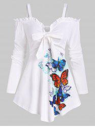 Cold Shoulder Butterfly Pattern Ruffle Bowknot Top -