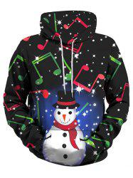 Christmas Snowman Music Note Front Pocket Plus Size Hoodie -