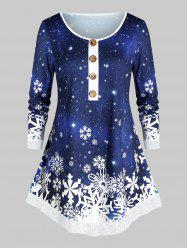 Christmas Mock Button Snowflake Print T Shirt -