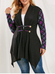 Plus Size Hanky Draped Plaid Collarless Knit Cardigan -