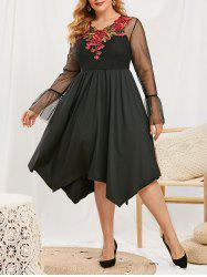 Plus Size Flower Applique Lace Flare Sleeve Dress with Camisole -