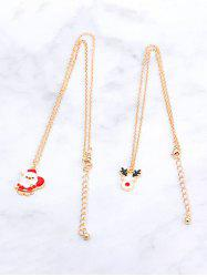 2Pcs Christmas Santa Claus Elk Necklace Set -
