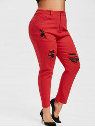 Plus Size Colored Skinny Ripped Jeans -