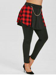 Plus Size High Rise Chains Plaid Skirted Pants -