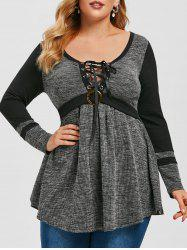 Plus Size Marled Ribbed Lace-up Tunic Sweater -