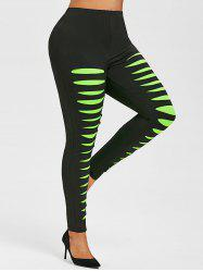 Plus Size Ripped High Rise Neon Pants -