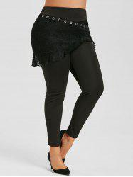 Plus Size High Rise Lace Overlay Skirted Pants -