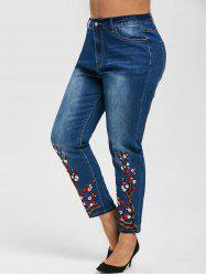 Plus Size Flower Embroidered Skinny Jeans -
