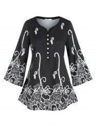 Plus Size Flower Print Placket Wide Sleeve Tunic Tee -