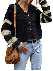 V Neck Striped Sleeve Button Up Cardigan -