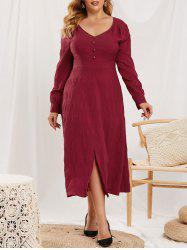 Plus Size Mock Button Slit V Neck Dress -