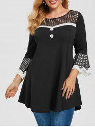 Plus Size Bell Sleeve Fishnet Insert Tee -
