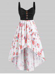 Mock Button Floral High Low Plus Size Dress -