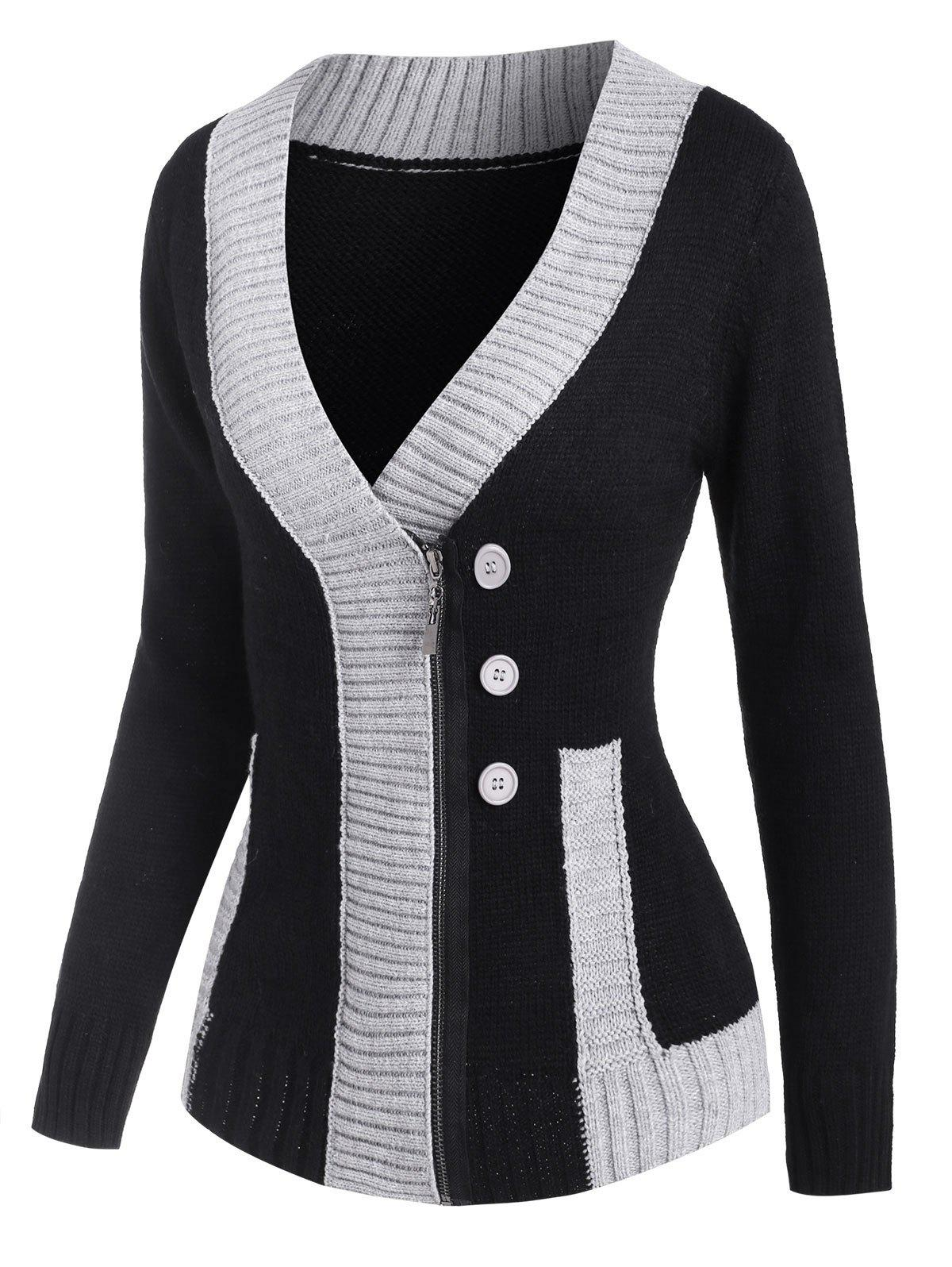 Sale Mock Button Two Tone Zip Up Cardigan