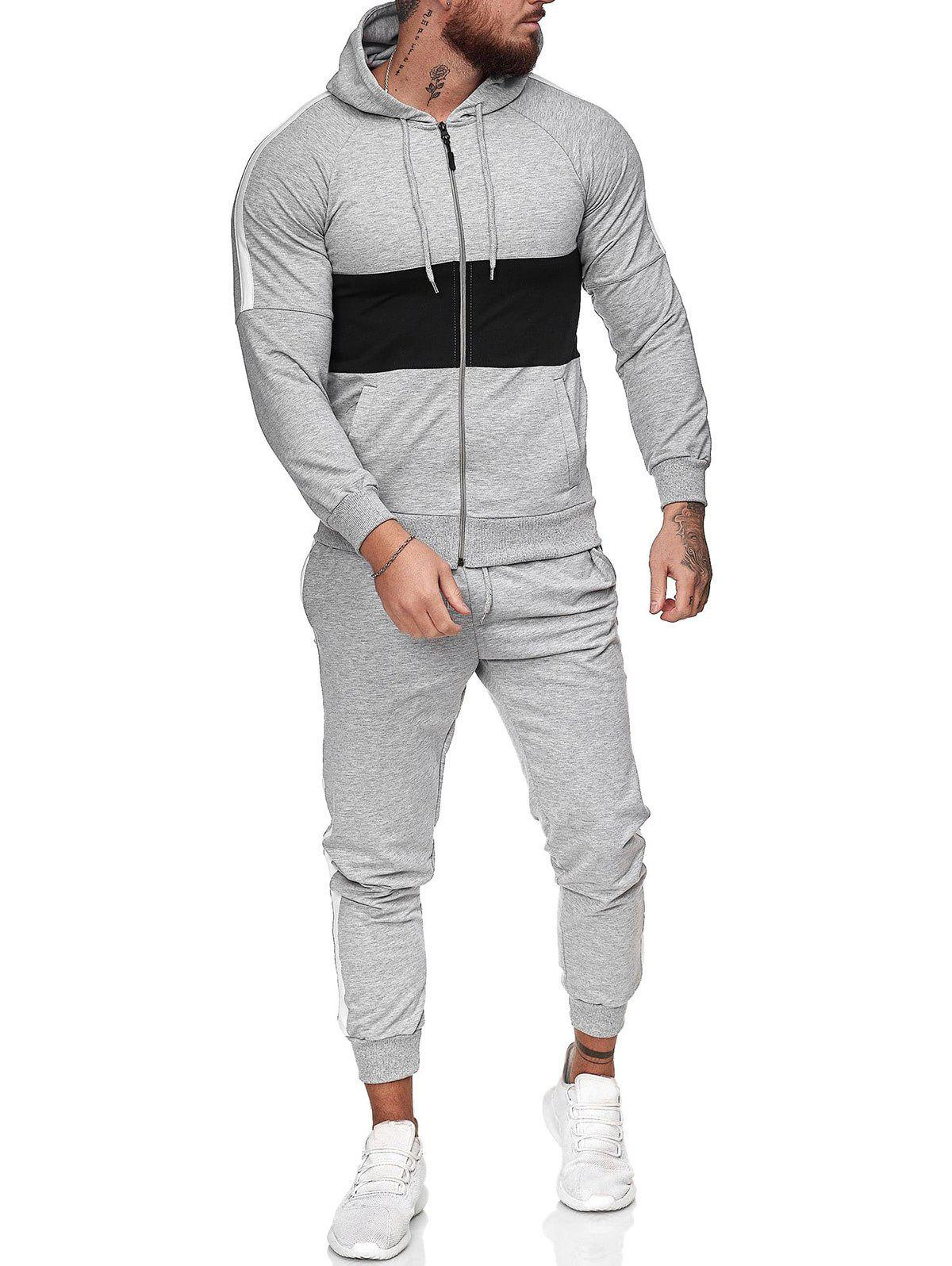 Trendy Contrast Zip Up Hoodie Jacket and Pants Two Piece Sports Set
