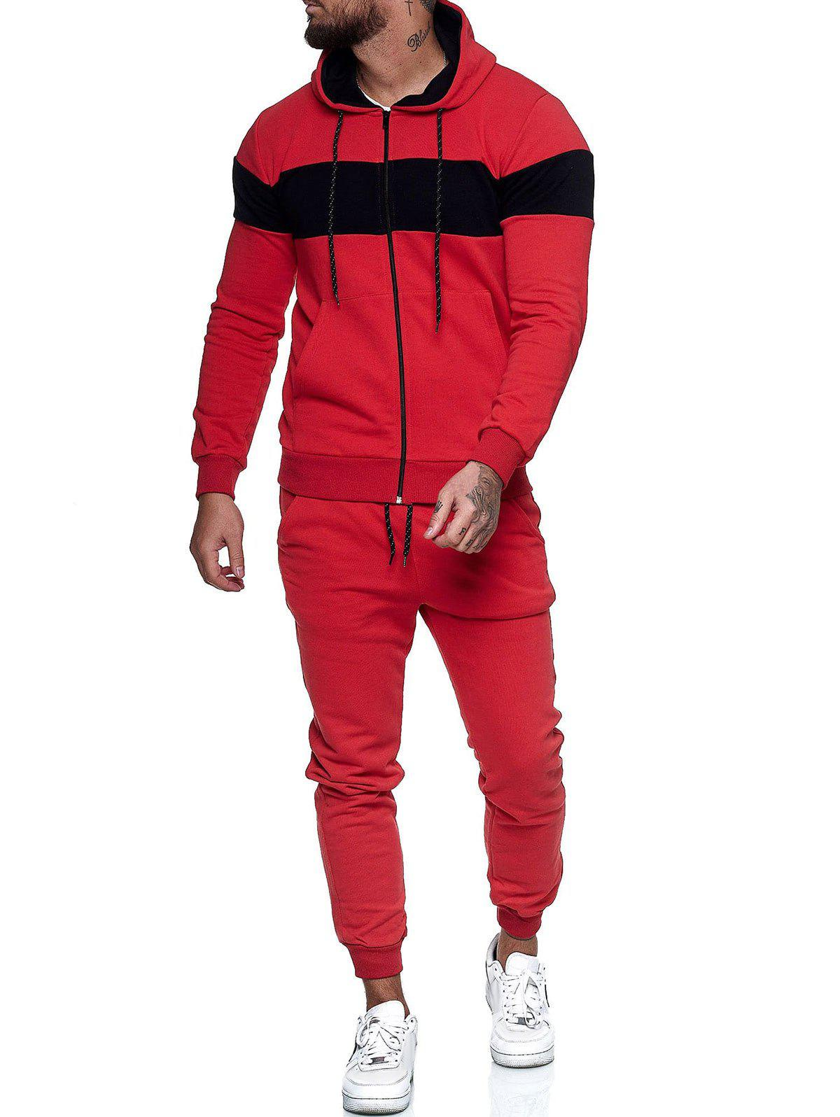Online Contrast Zip Up Hoodie Jacket and Pants Sports Two Piece Set