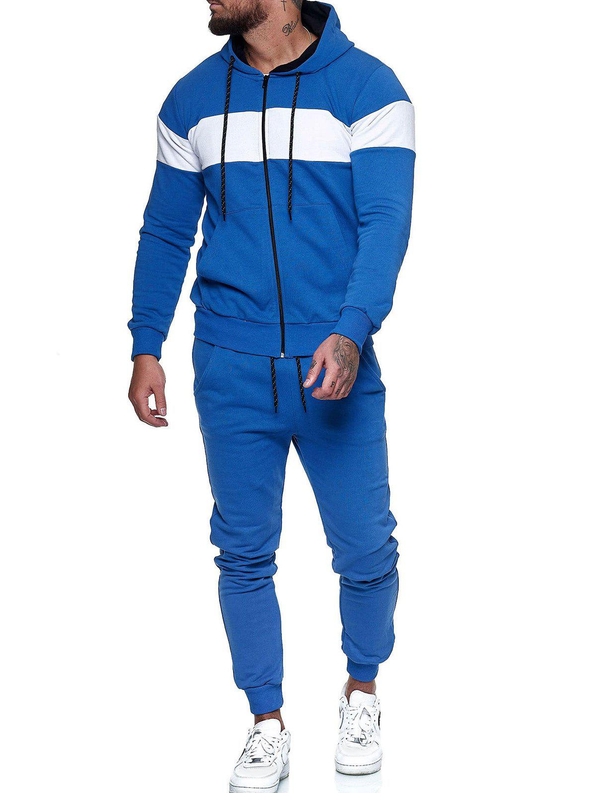Fancy Contrast Zip Up Hoodie Jacket and Pants Sports Two Piece Set