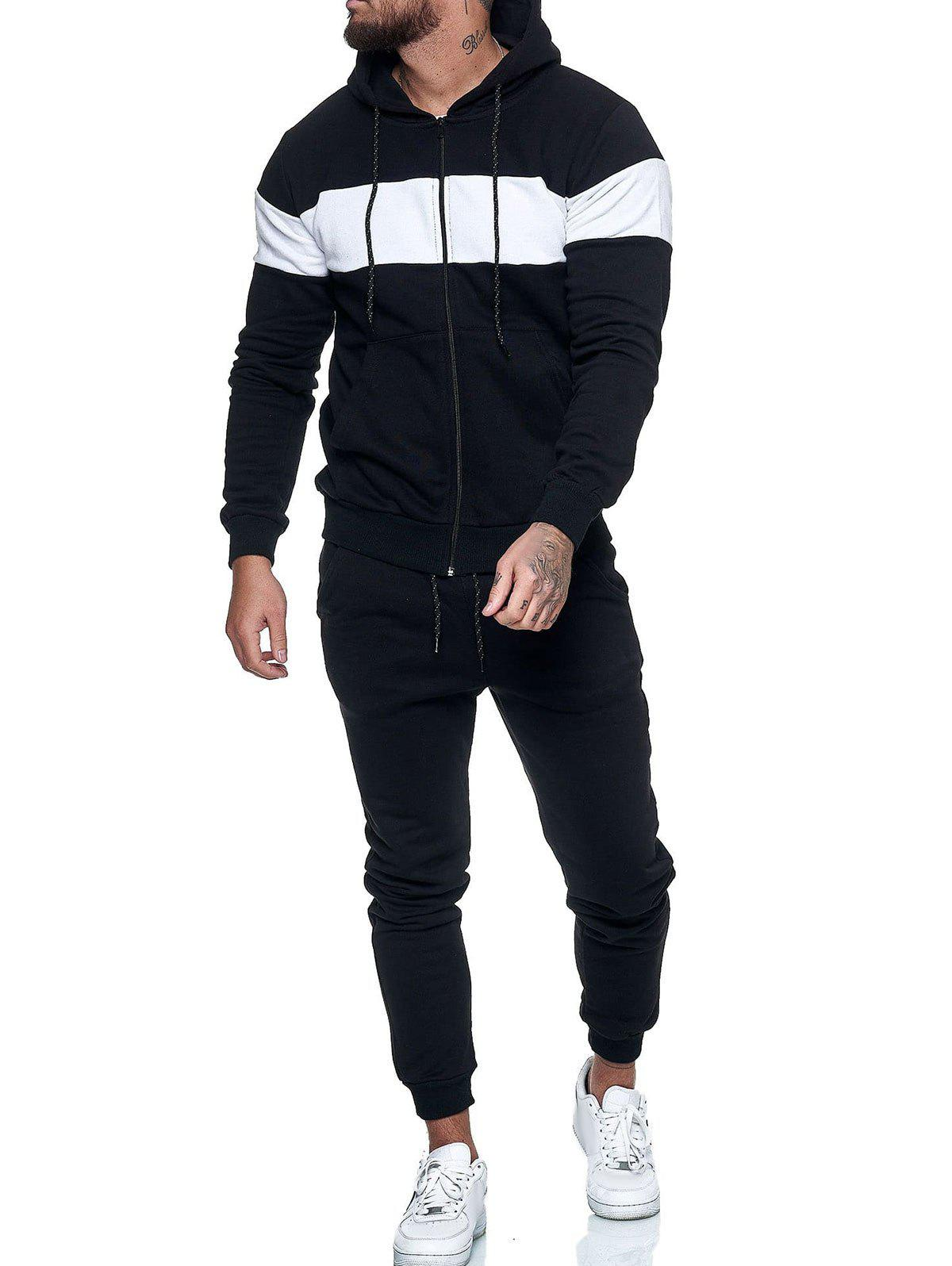 Latest Contrast Zip Up Hoodie Jacket and Pants Sports Two Piece Set