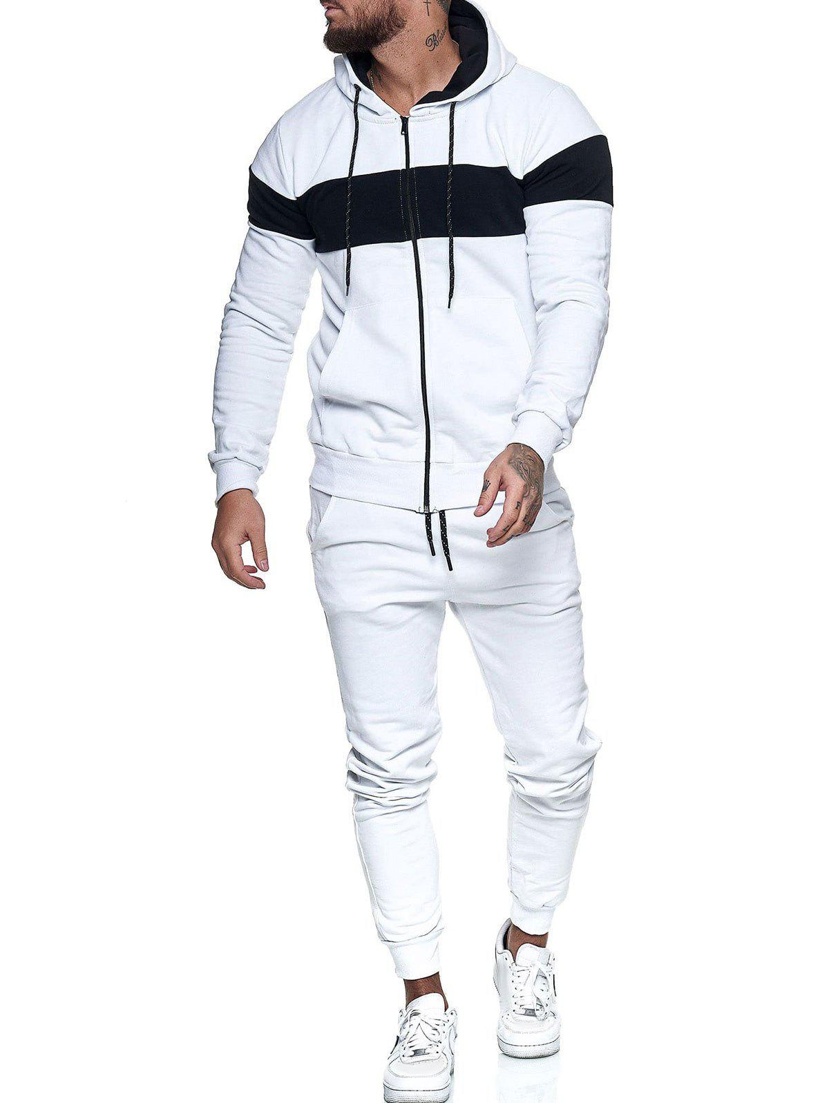 Hot Contrast Zip Up Hoodie Jacket and Pants Sports Two Piece Set