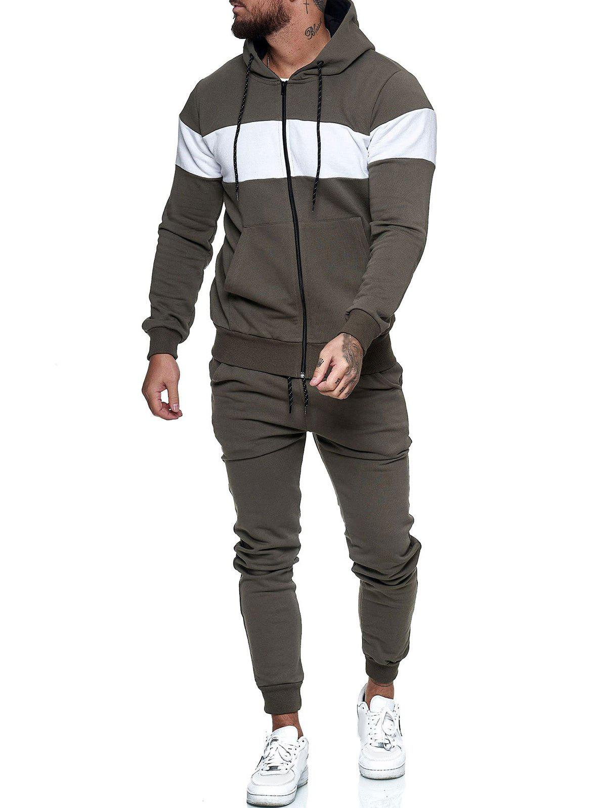 Shop Contrast Zip Up Hoodie Jacket and Pants Sports Two Piece Set