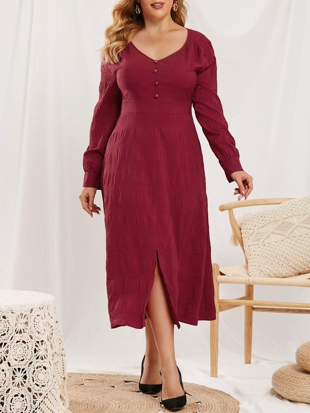 Online Plus Size Mock Button Slit V Neck Dress