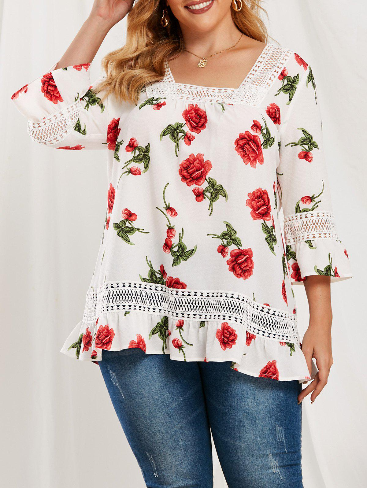 Hot Plus Size Ruffle Floral Pattern Lace Splicing Blouse