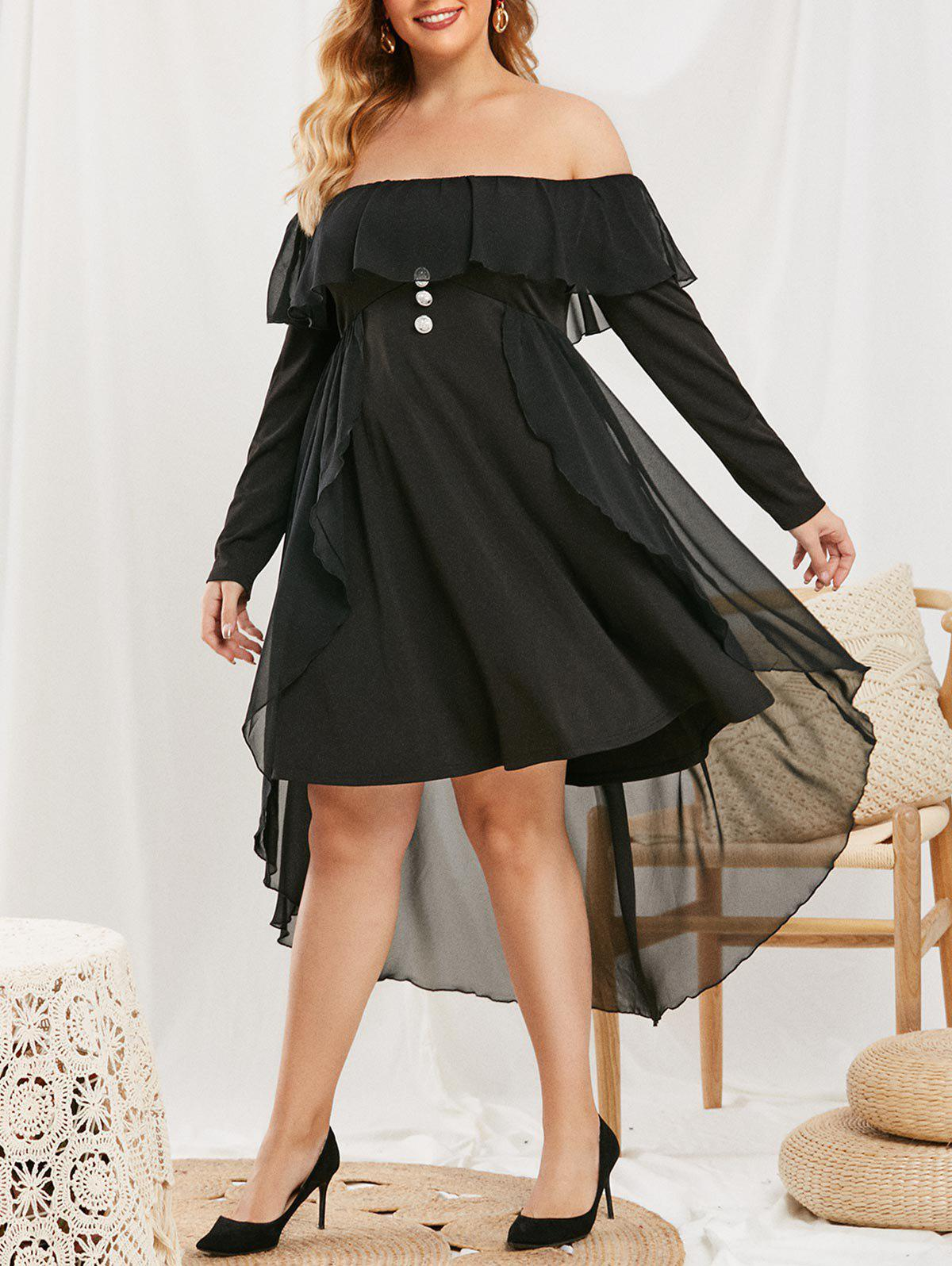 Discount Plus Size Ruffled Mesh Overlay Off Shoulder Dress