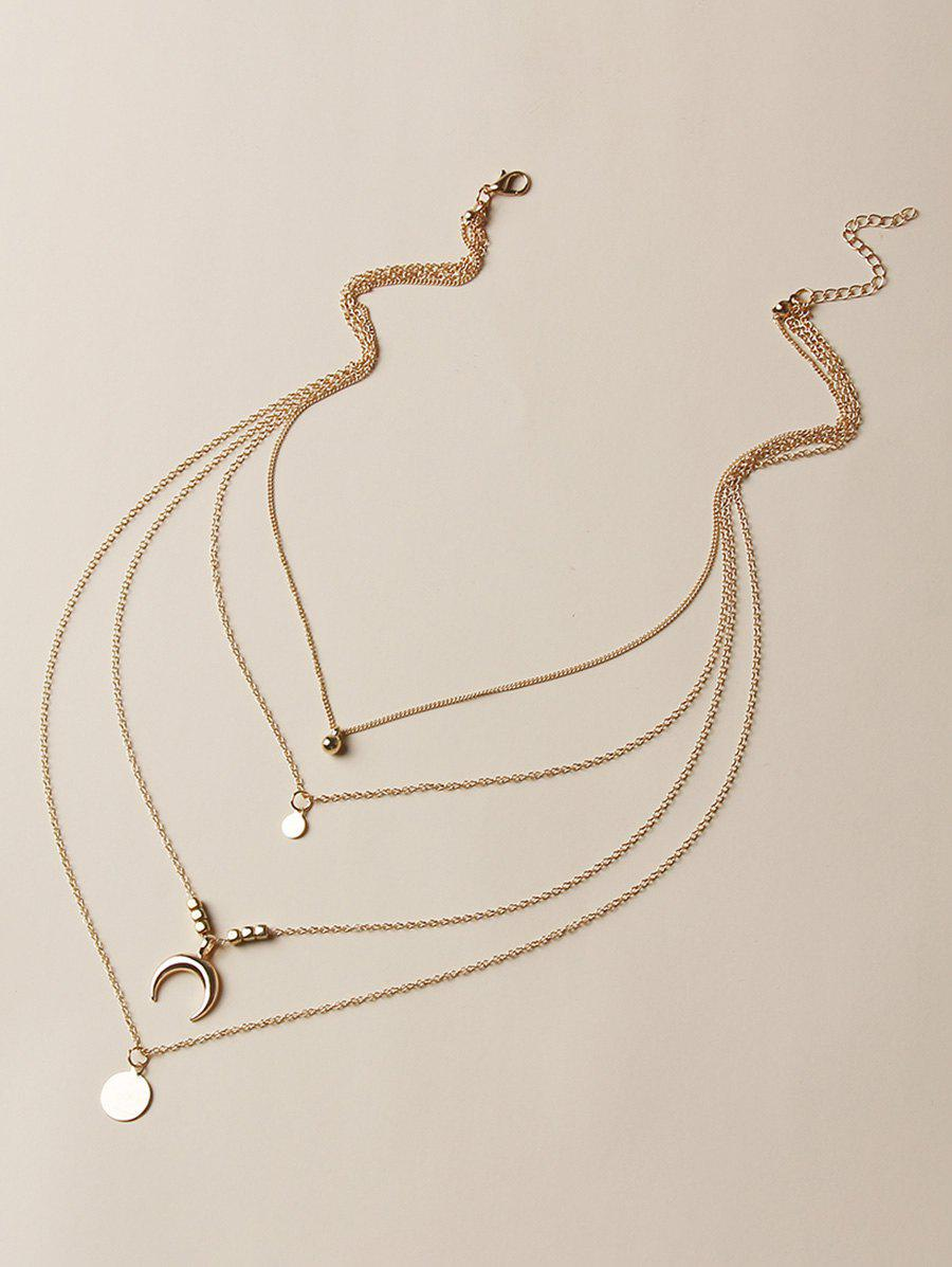 Hot Brief Moon Round Shape Charm Multilayered Necklace
