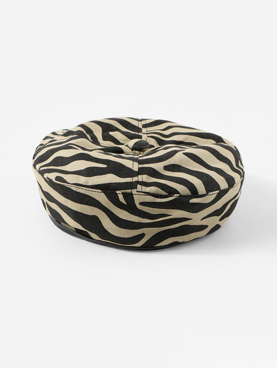 Outfit Zebra Printed Cotton Flat Beret Hat