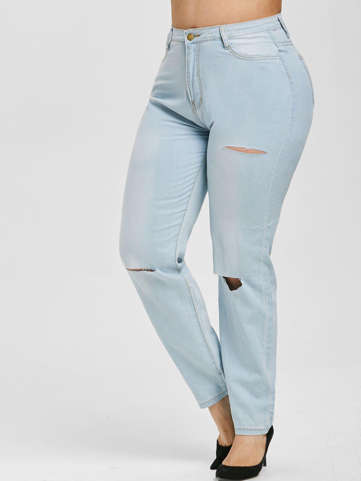 Discount Ripped Cutout High Waisted Plus Size Skinny Jeans
