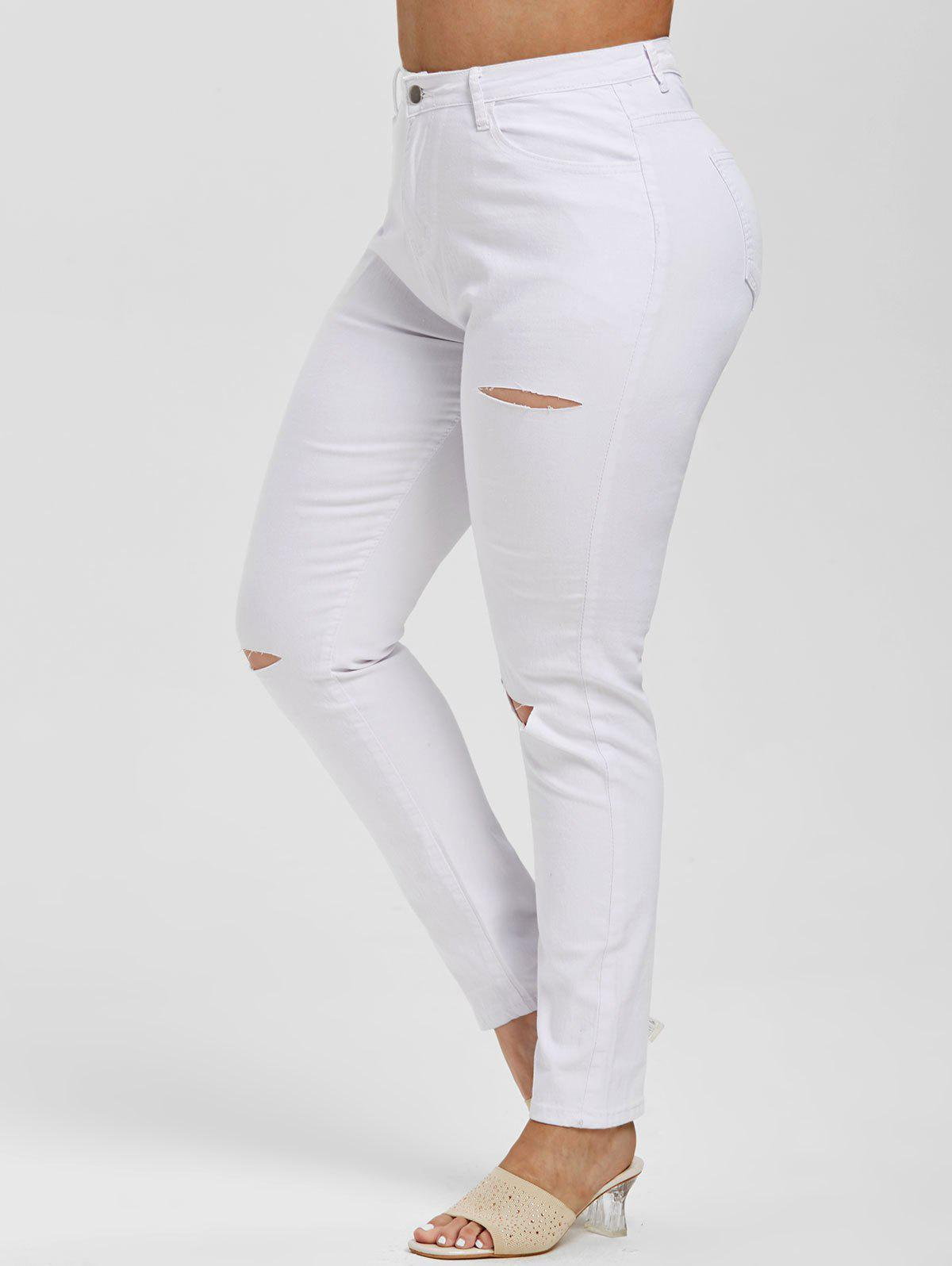 Latest Ripped Cutout High Waisted Plus Size Skinny Jeans